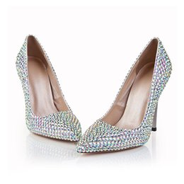$enCountryForm.capitalKeyWord Australia - Women rhinestone high-heeled wedding dress shoes colorful diamond pointed shallow crystal fashion stiletto heel pumps EU41