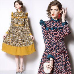 $enCountryForm.capitalKeyWord Australia - Hot sale!2019 spring and autumn new product wooden ear edge stitching in the long style holiday dress, fashion leopard print waist dress