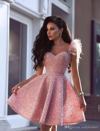 2020 Новый роскошный жемчуг розовый Короткие Homecoming платья арабский Дубай Стиль Линия Милая длиной до колен Коктейль Пром платья на Распродаже