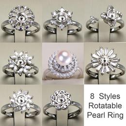 6b60aa779788 Anillo giratorio de plata 925 ajustes de los anillos de la perla de DIY  Anillo brillante del Zircon para el anillo de la joyería de la manera de  las mujeres ...
