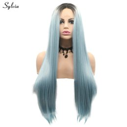 Kanekalon Lace Wigs NZ - Smog Blue Synthetic Lace Frontal Wigs Silky Straight Wig Long Hair Dirty Blue Kanekalon Fiber Wig Replacement Cosplay Wig