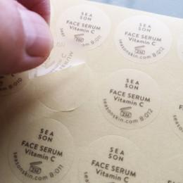 Auf Bestellung Mattes Oberflächenfinish Transparentes Vinyl, einfarbig bedruckt Selbstklebender Etikettenaufkleber, Art.-Nr. CU44