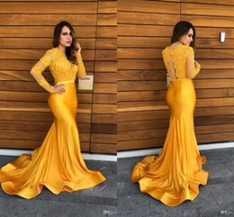 Plus size formal evening long gown online shopping - Yellow Lace Mermaid Prom Party Dresses Vintage Sheer Lace V neck Evening Gowns Formal Red Carpet Dress with Long Sleeves