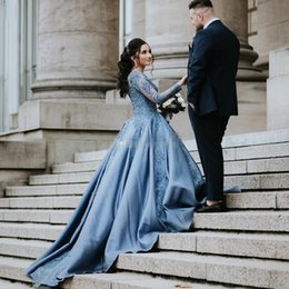 Navy Blue Gold Quinceanera Dress Australia - Ice Blue Ball Gown Prom Dresses with Long Sleeve 2019 Jewel Neck Lace Applique Puffy Skirt Quinceanera Evening Party Dresses
