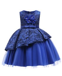 Chinese  2019 Blue Lace Flower Girl Dresses Lovely Clothes With Big Bow Tutu In Stock Cheap for Age 3~12 Keyhole Back B203 manufacturers