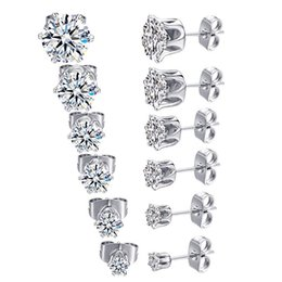 Engagement Party Packs Australia - MDFUN 18K White Gold Plated Round Clear Cubic Zirconia Stud Earring Pack of