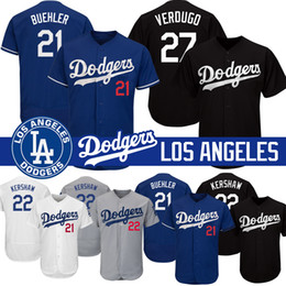 Maglie di Los Angeles Cody Bellinger Dodgers Jackie Robinson 22 Clayton Kershaw 27 Alex Verdugo 21 Walker Buehler Base di feltro on Sale