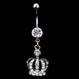 $enCountryForm.capitalKeyWord Australia - Hot Sale New Fashion Crown Charm Rhinestone Body Piercing Jewelry Belly Button Ring Navel Jewelry Body free Shipping
