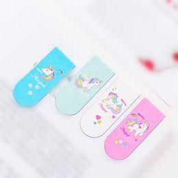 2019 Creative Pink Girl Heart Unicorn magnet bookmark cartoon magnetic bookmark mini book clip flip book clip from newest design alloy manufacturers