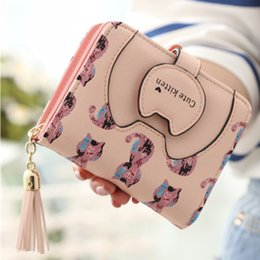 cartoon shape women bags Australia - Cute Kitten Wallet Women PU Leather Wallets Purses Cartoon Cat Prints Wallet Female Card Holder Coin Purse Money Clutch Bag