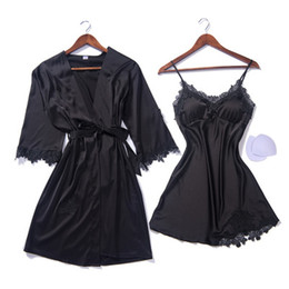 Summer Sexy Silk Night Gown And Robe Set Spaghetti Straps Satin Nighty Women  Nightgown+Robe 2 Pcs Sexy Sleepwear 264683d6f