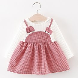 9fc978b18 Toddler Kids Baby Girls dress Long Sleeve Ears Plaid baby clothing my first  birthday outfit girl Party princess dress
