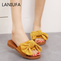 4480f59a5 women Casual slippers sandals women female Comfort outdoor Indoor slip on  Butterfly-knot Bow flats Casual Slides Flip Flops  132