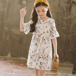 flare dresses floral NZ - Chiffon Floral Kids Dresses For Girls Summer Flare Sleeve 2 4 6 8 12 10 Years Girls Dresses 2018 White Yellow Princess Clothing Y190516