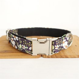 small dog collar flowers Australia - Pet Collar with Print Flower Fashion Dog Adjustable Collars Teddy Schnauzer Small Dog Led Pet Collar