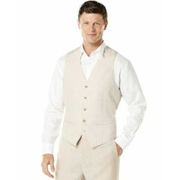 $enCountryForm.capitalKeyWord UK - Ivory Linen Vest Pants Men Suits for Wedding Best Man Blazers Groom Tuxedos Costume Mariage Homme Prom Party 2Piece Slim Fit Terno Masculino