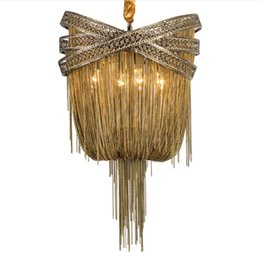 $enCountryForm.capitalKeyWord UK - Bronze Modern Aluminum Chandelier Light Italian Tassel Design Chain Lustres Lamp Hanging Lighting for Living room Foyer LLFA