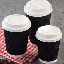 $enCountryForm.capitalKeyWord Australia - 200pcs Disposable Coffee Cups Insulation Takeaway Threaded Paper Cup with Lid Anti-scalding milk Cup for Home Coffee store tableware