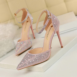 59ce8df9167 2019 New Style Wedding Shoes Cinderella Crystal Sandals High Heel Silver  Gold Prom Shoes Rhinestones Summer Bridal Shoes
