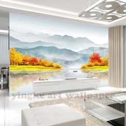 New Style 3d Paintings NZ - custom 2019 new chinese style 3d wallpaper ink painting gold tree wall mural for living room background wall decoration