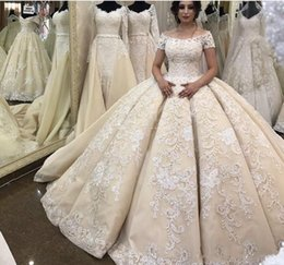 short ball gown wedding dresses sleeves Australia - Unique Design Ball Gown Scoop Short Sleeve Wedding Dresses Chapel Train Champagne Tulle Ivory Lace Church Wedding Gowns Zipper Back