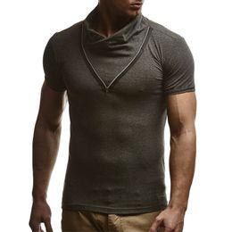 Fake Branded Shirts Australia - Male 2019 Brand Short Sleeve Fake Zipper Splic Solid Color T Shirt Stand Slim Men T-shirt Tops Fashion Mens Tee Shirt T Shirts