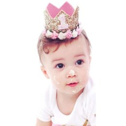 number one wholesales Australia - Birthday Hats Decor Cap One First Birthday Hat Princess Crown 1st 2nd 3rd Year Old Number Party Decorations Kids