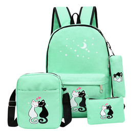 Red pen giRl online shopping - Multi function Canvas Shoulders Schoolbag Design Stars Kitten Printed Backpacks One Shoulder Bag Four Piece Set Back To School Pen Bags