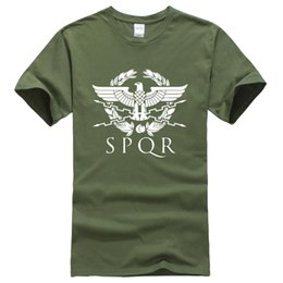 Discount eagle t shirts wholesale - Summer Fashion SPQR Roman Gladiator Imperial Golden Eagle banner T-Shirt Men Casual Short Sleeve Male T Shirt Harajuku T