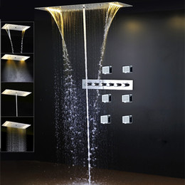 jet body sprays showers NZ - Luxury Bathroom Set Shower Jets body Spray Led Electric Power Bathroom 5 Way Conceal Install Thermostatic Shower Faucets