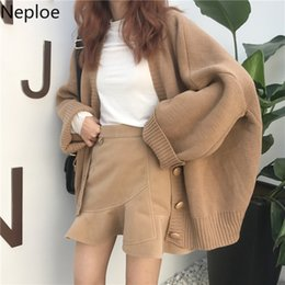 Korean women winter long coat online shopping - Neploe Women Sweaters Coat Autumn Winter Tops Korean Fashion Retro V neck Pull Femme Single Breasted Knitted Cardigan SH190912