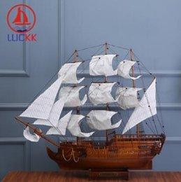 aircraft carrier toys UK - 2020 New LUCKK 100CM Handmade Retro CONSTITUTION Wooden Sailboat Model Home Interior Decoration Room Nautical Crafts Sea Ornaments Gift