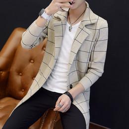 Wholesale single breasted pea coat men resale online - Fashion Men Casual Blazer Autumn Slim Plaid Single Breasted Trench Coat Teenager Design Pea Coat Manteau Homme Black M XL