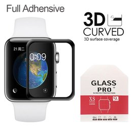 smart protector NZ - Full Adhensive 3D Curved Tempered Glass For iWatch Apple Smart Watch3 Watch4 38mm 42mm 40mm 44mm Full Coverage Screen Protector