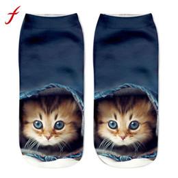 Funny Socks Fashion Australia - feitong 2018 New Fashion Harajuku Socks Casual Popular Funny Unisex Short Socks 3D Cat Printed Anklet