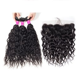 1b mixed hair extensions 2019 - Ais Hair Brazilian Virgin Human Hair Weaves Extensions Water Wave Natual 1B Color 3 Bundles With Lace Frontal 13*4 Unpro