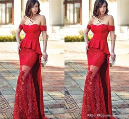 Celebrity Occasions Dresses Canada - 2018 Exquisite Off Shoulder Red Mermaid Evening Dresses Applique Lace Peplum Long Prom Celebrity Gowns Formal Special Occasion Wear