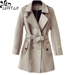 Deerskin coat online shopping - UHYTGF Spring Autumn trench coat for women luxury deerskin suede elegant Female coat Double breasted slim Ladies casual coats