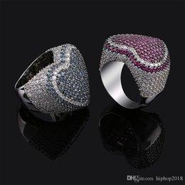 $enCountryForm.capitalKeyWord NZ - USpecial Mens Fashion Heart Rings High Quality Hip Hop Ring Jewelry Full Colorful Zirconia Ring For Wedding