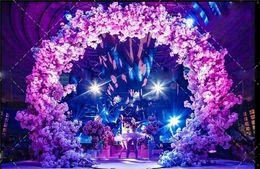 Lucky Decor Australia - New cherry blossom+iron round stand lucky door full DIY wedding window party decor artificial flower cherry blossom +arch shelf