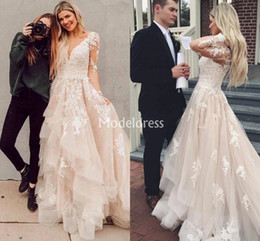 country style dresses for weddings UK - Bohemian Lace Wedding Dresses For Bride Tiered Illusion Long Sleeves Appliques Sweep Train Country Style Bridal Gowns Chic Vestidoe De Noiva