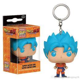Free Goku Figures Australia - Funko Pocket POP Keychain - Super Saiyan Goku Blue Hair Dragon Ball Z Vinyl Figure Keyring with Box Toy Gift Good Quality Free Shipping 576