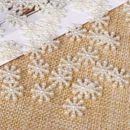 white snowflake tree decor Australia - 100pcs Pretty White Snowflake Flatback Pearl Embellishments Party Craft Cardmaking Christmas Decor Hand Making DIY Craft