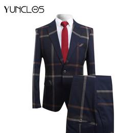 Dark Blue Suits Australia - Yunclos 2019 Men Business Suits 2 Pieces Dark Blue Striped Tuxedos Slim Fit Suit Mens Elegant Classic Formal Suits Y190418