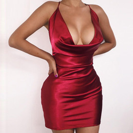 red figures Australia - 2016 Summer Women Sexy Satin Night Club Wearing Dresses Women Red Spaghetti V -cut Backless Mini, Figure -toothed Dress Vestidos Y19070901