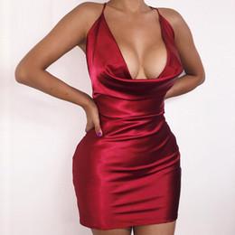 $enCountryForm.capitalKeyWord Australia - 2016 Summer Women Sexy Satin Night Club Wearing Dresses Women Red Spaghetti V -cut Backless Mini, Figure -toothed Dress Vestidos Y19070901