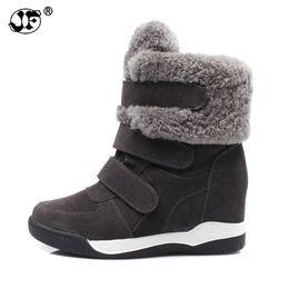 a5c6548db0 Laço de cetim on-line-2018 Inverno Cunha Patchwork Faux Fur Moda Mulheres  Sapatos