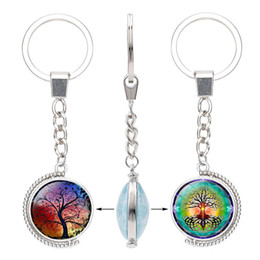 $enCountryForm.capitalKeyWord NZ - Tree of Life Double sided Keychains Rotable Glass Cabochon Time Gemstone Key chain Silver metal Key Rings Jewelry accessories in Bulk