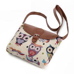 Small Cartoon Design NZ - good quality Casual Cartoon Owl Printed Messenger Bag Women Canvas Design Owl Shoulder Crossbody Bag Female Small Lady Flap Bag
