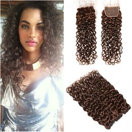 $enCountryForm.capitalKeyWord UK - Wet and Wavy Brazilian Chocolate Brown Human Hair 3Bundles with Closure #4 Dark Brown Water Wave Hair Weaves with 4x4 Front Lace Closure